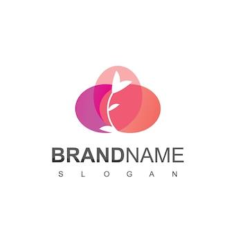Logotipo floral da flor da beleza com fundo roxo