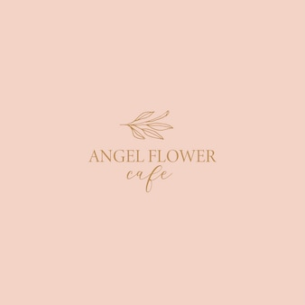 Logotipo floral delicado para loja de floricultura artesanal em café-butique