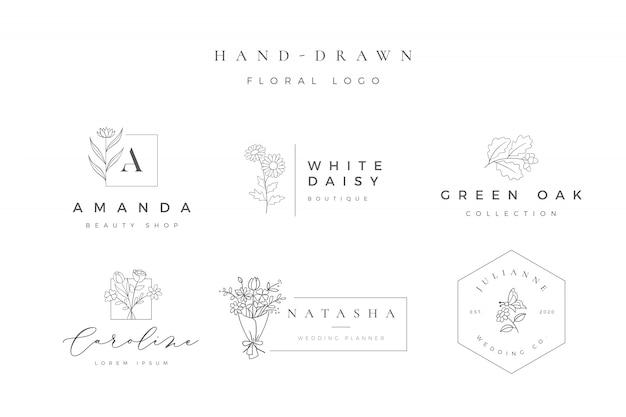Logotipo floral desenhada mão minimalista