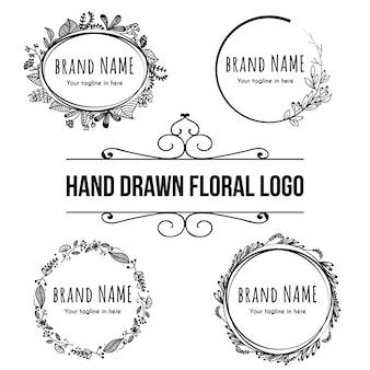 Logotipo floral desenhado de mão