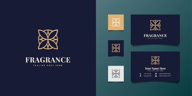 Logotipo floral elegante com conceito de linha minimalista em gradiente dourado
