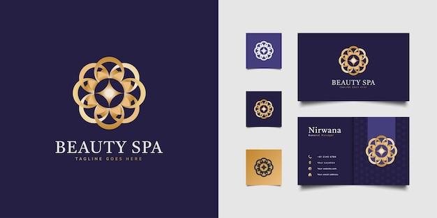 Logotipo floral elegante com conceito redondo em gradiente dourado