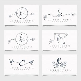 Logotipo floral feminino editável