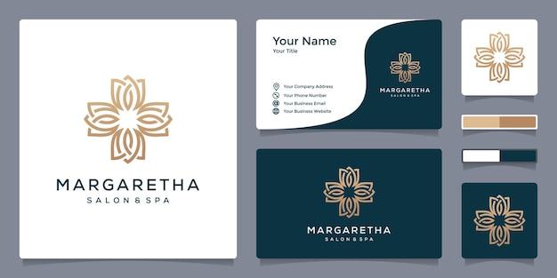 Logotipo floral m para salão e spa com modelo de cartão de visita