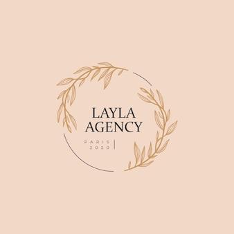 Logotipo floral minimalista desenhado à mão