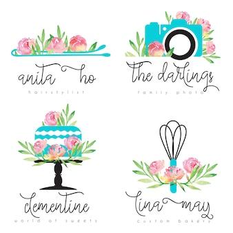 Logotipo floral pré-fabricado com ferramenta de confeitaria de bolo de câmera fotográfica