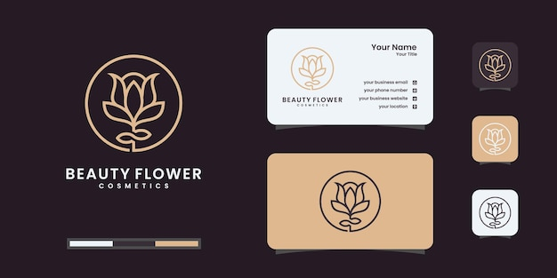 Logotipo floral rosa elegante minimalista e cartão de visita