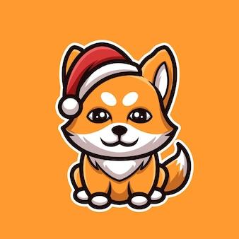 Logotipo fofo da mascote do personagem de desenho animado da fox christmas