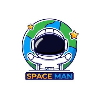 Logotipo fofo de astronauta com fundo de terra
