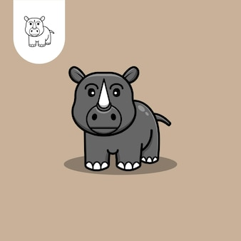 Logotipo fofo de rinoceronte