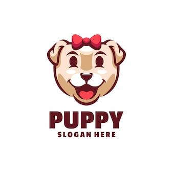 Logotipo fofo do cachorro filhote de cachorro isolado no branco