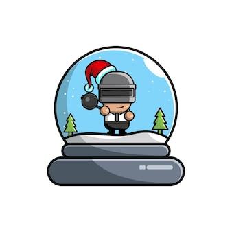 Logotipo fofo do personagem de natal pubg dome