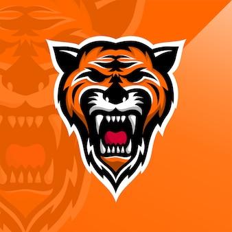 Logotipo forte do tigre rujir