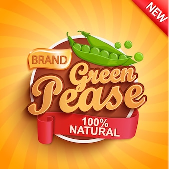 Logotipo fresco verde pease, etiqueta ou adesivo.