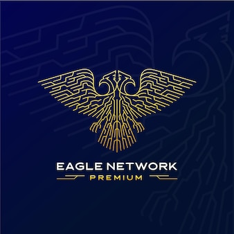 Logotipo futurista da rede águia com duas cabeças