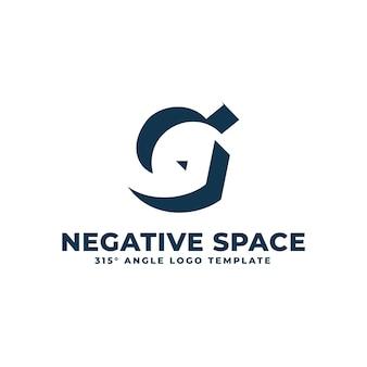 Logotipo g moderno espaço negativo limpo ilustração geométrica de letras