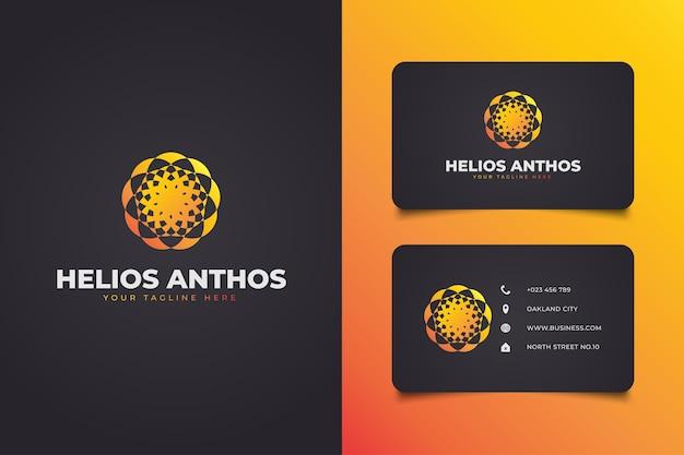 Logotipo geométrico abstrato com estilo de mandala em conceito gradiente laranja para o seu negócio