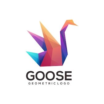 Logotipo geométrico de ganso colorido abstrato