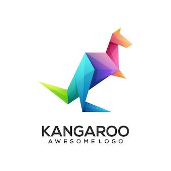 Logotipo geométrico do canguru colorido abstrato