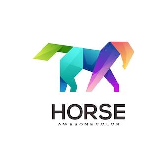Logotipo geométrico do cavalo abstrato colorido