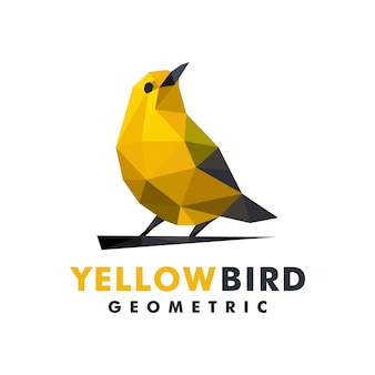 Logotipo geométrico pássaro amarelo