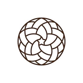 Logotipo geométrico redondo de estrela oriental
