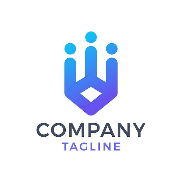 Logotipo gradiente abstrata comunidade criativa