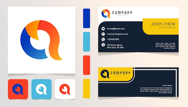 Logotipo gradiente abstrato azul vermelho amarelo, banner, modelo de conjunto de pacote de cartão de negócios