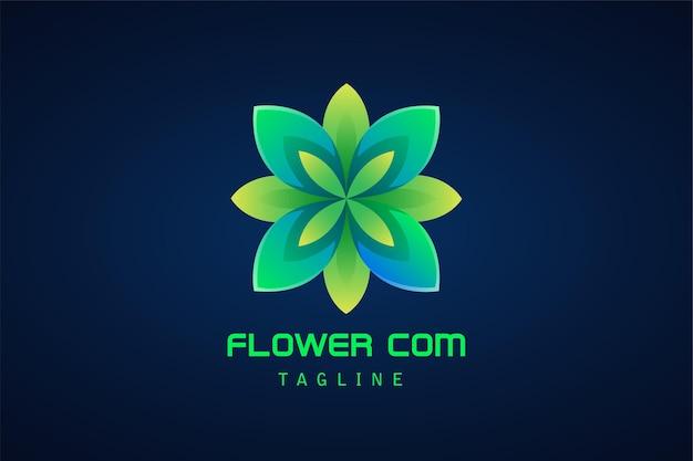 Logotipo gradiente abstrato da flor verde da beleza