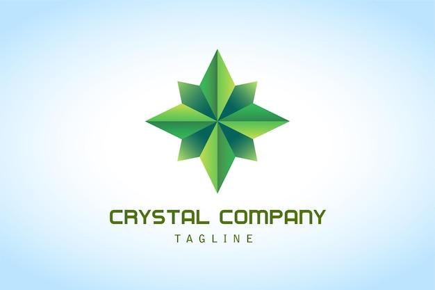 Logotipo gradiente abstrato de cristal verde para empresas