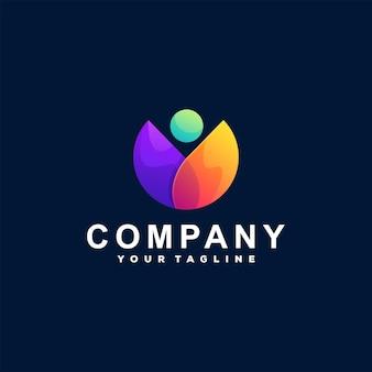 Logotipo gradiente abstrato de pessoas