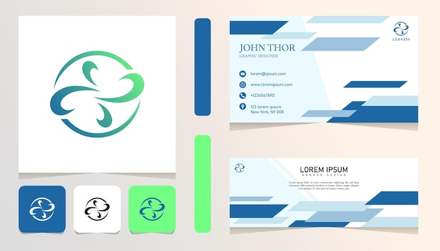 Logotipo gradiente abstrato do círculo verde azul, banner, modelo de conjunto de pacote de cartão de negócios Vetor Premium