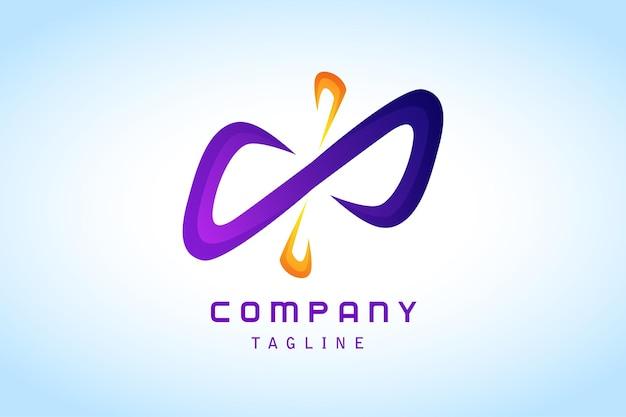 Logotipo gradiente abstrato laranja infinito roxo corporativo