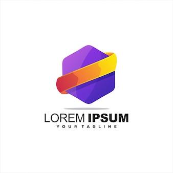 Logotipo gradiente abstrato soberbo