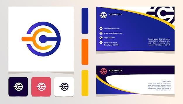 Logotipo gradiente azul laranja amarelo, banner, modelo de conjunto de pacote de cartão de negócios