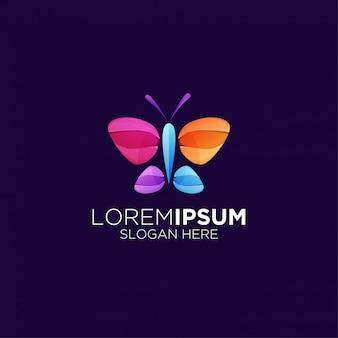 Logotipo gradiente bonito borboleta