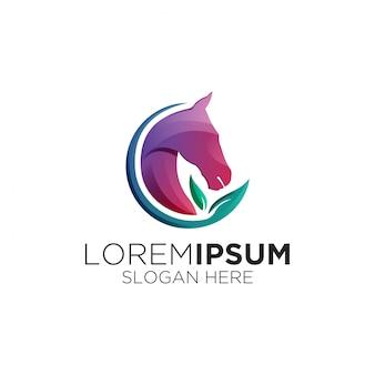 Logotipo gradiente cavalo folha