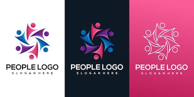 Logotipo gradiente colorido de pessoas