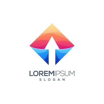 Logotipo gradiente colorido de seta Vetor Premium