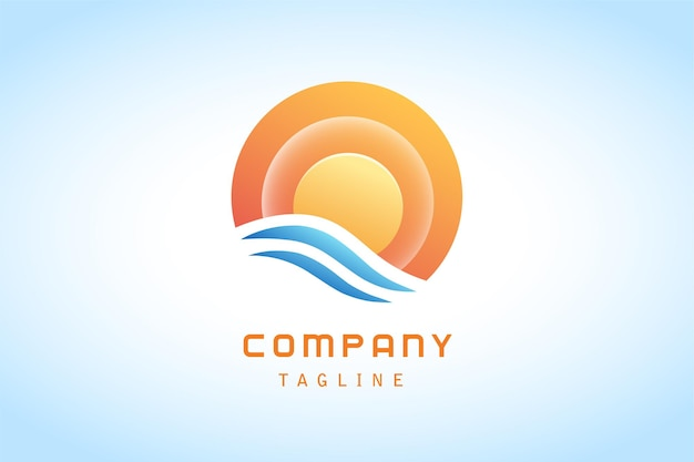 Logotipo gradiente colorido de sol laranja e onda azul