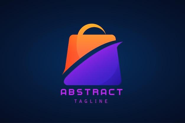 Logotipo gradiente da sacola de compras laranja e roxo