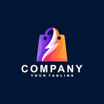 Logotipo gradiente da sacola de compras