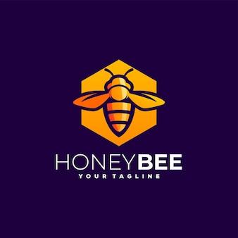 Logotipo gradiente de abelha mel