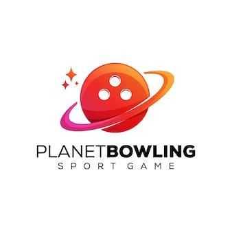 Logotipo gradiente de boliche do planeta, modelo de design de logotipo de jogo de esporte