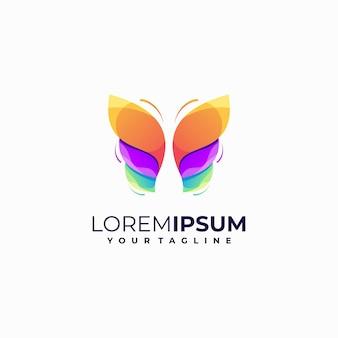 Logotipo gradiente de borboleta abstrato