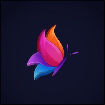 Logotipo gradiente de borboleta bonito