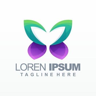 Logotipo gradiente de borboleta, ilustração