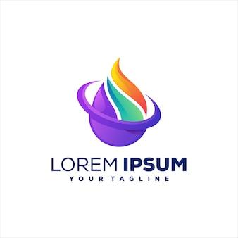 Logotipo gradiente de chama abstrato