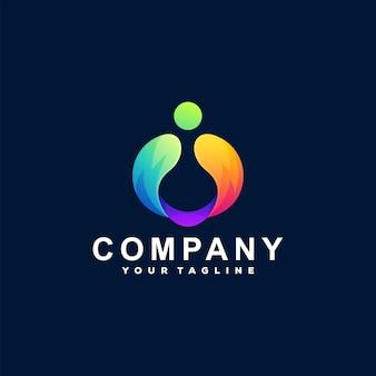 Logotipo gradiente de cor abstrata