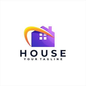 Logotipo gradiente de cor da casa